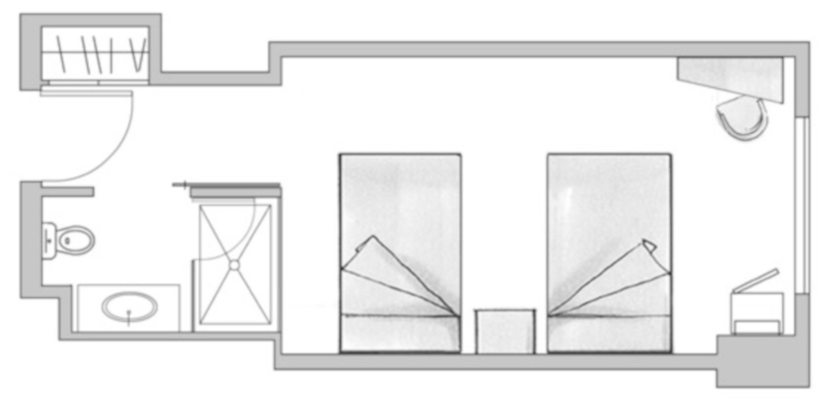 RIU Plaza New York Times Square - pôdorys izba deluxe full bed (DLT)