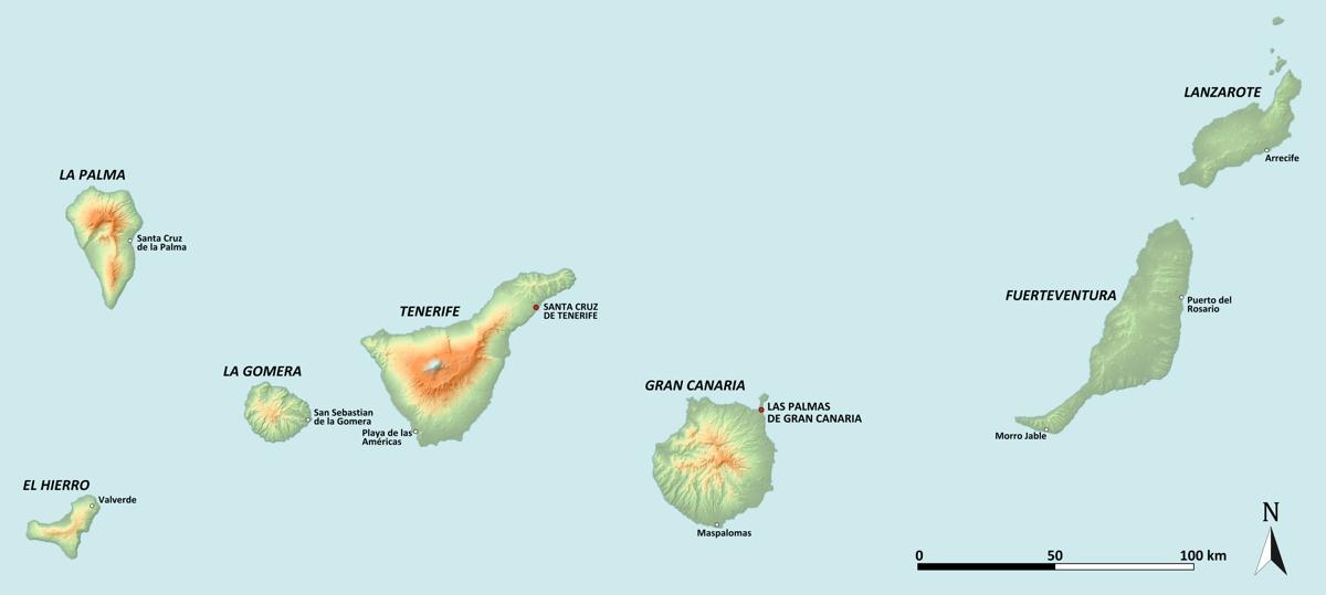 Kanárske ostrovy mapa