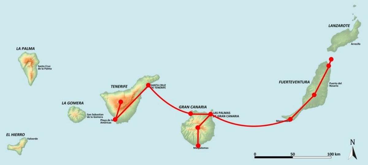 Poznávací zájazd Kanárske ostrovy, mapa