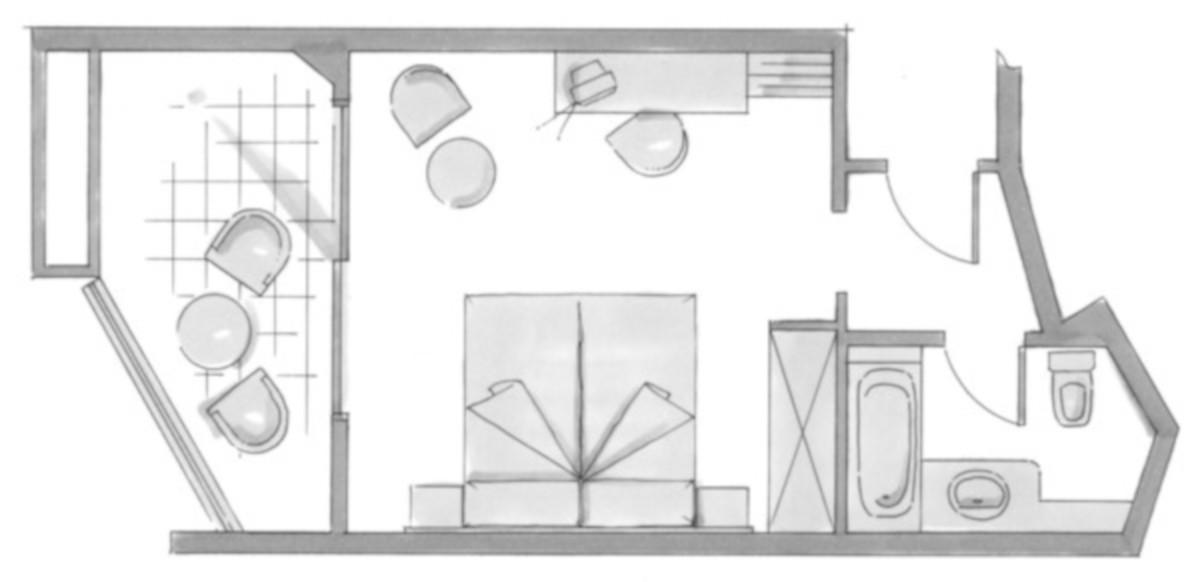 RIU Don Miguel - pôdorys dvojlôžková izba