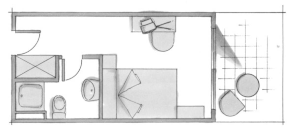 RIU Concordia - pôdorys jednolôžková izba