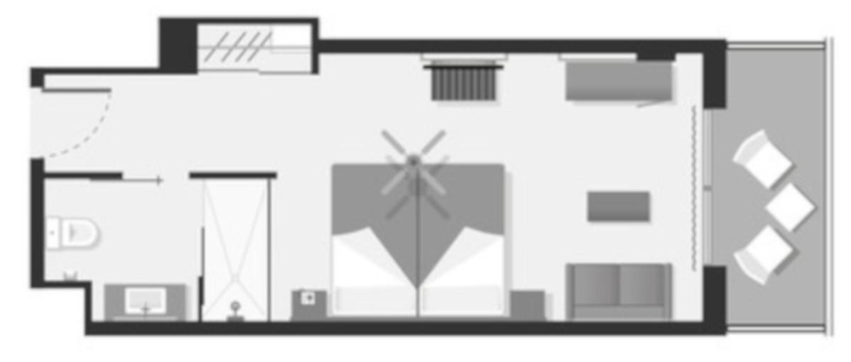 RIU Playa Park - pôdorys dvojlôžková izba