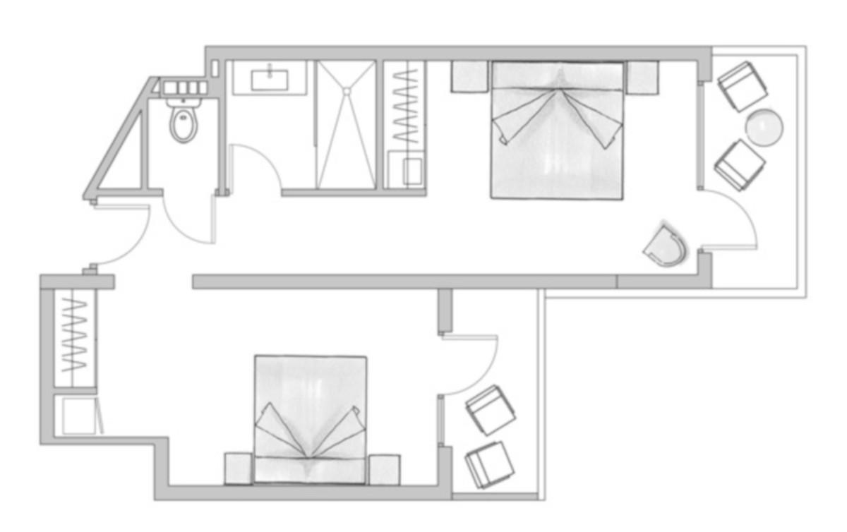 RIU Papayas - pôdorys rodinná izba (F2JB, F2SB)