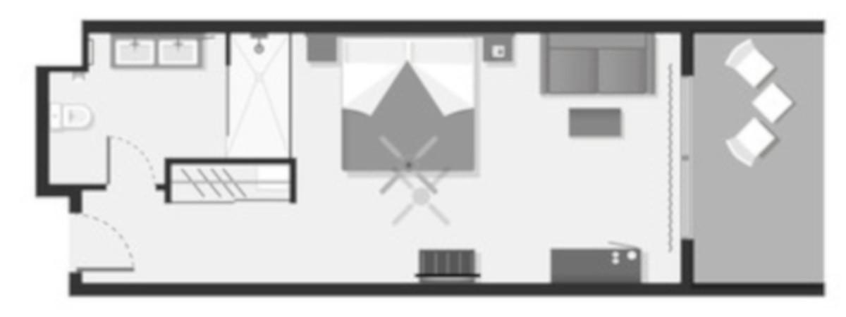 RIU Atoll - pôdorys dvojlôžková izba (DDMB) a plážová izba (DDME)