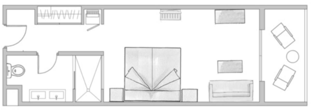 RIU Palace Oasis- pôdorys dvojlôžková izba (DDSB, DDJB, DDLB, DDMB)