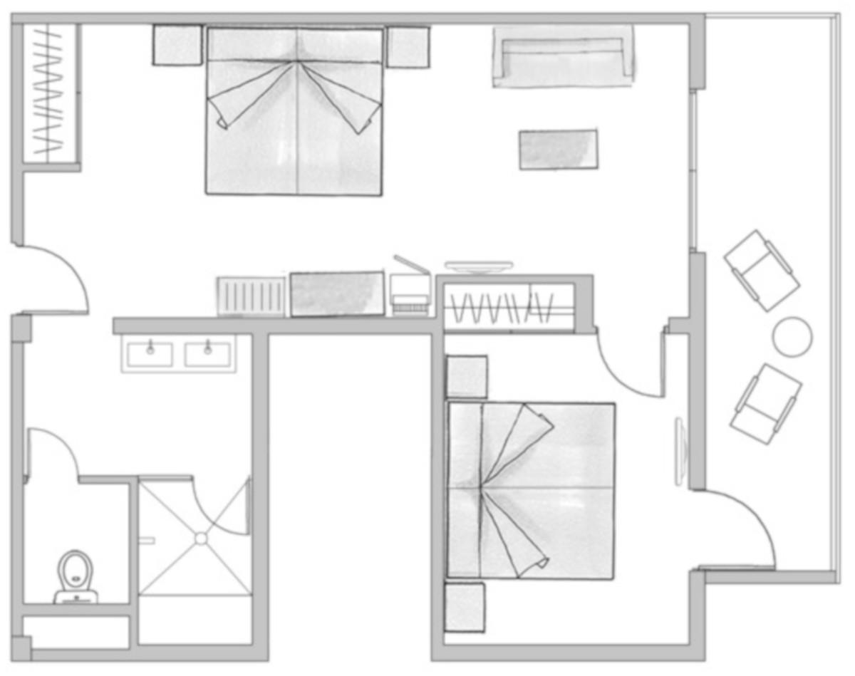 RIU Palace Oasis- pôdorys rodinná izba (F2SB)