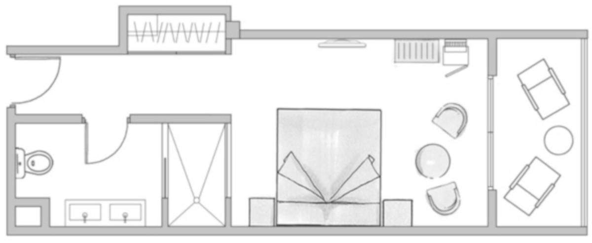 RIU Palace Oasis - pôdorys malá dvojlôžková izba (DPLB)
